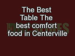 The Best Table The best comfort food in Centerville