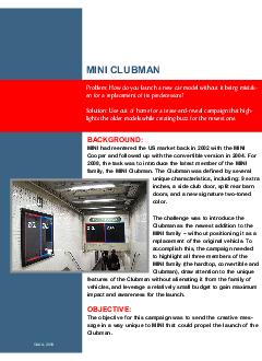MINI CLUBMAN BACKGROUND MINI had reentered the US mark PowerPoint PPT Presentation