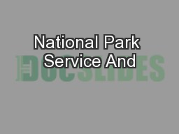 National Park Service And