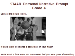 STAAR Personal Narrative Prompt PowerPoint PPT Presentation