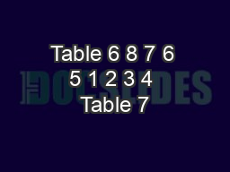 Table 6 8 7 6 5 1 2 3 4 Table 7 PowerPoint PPT Presentation
