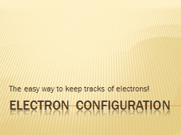 ELECTRON CONFIGURATION The easy way to keep tracks of electrons!
