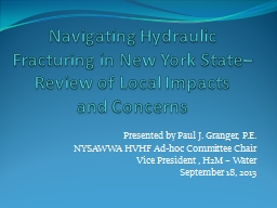 Navigating Hydraulic Fracturing in New York State–Review of Local Impacts