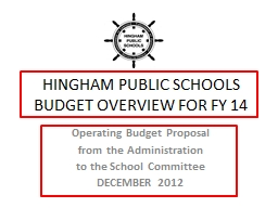 HINGHAM PUBLIC SCHOOLS BUDGET OVERVIEW FOR FY 14