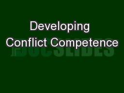 Developing Conflict Competence