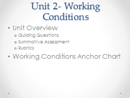 Unit 2- Working Conditions