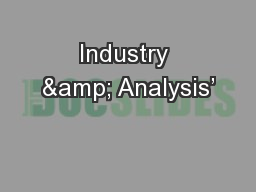 Industry & Analysis'