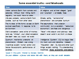Some essential truths � and falsehoods