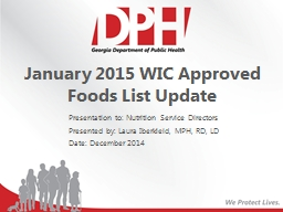 January 2015 WIC Approved Foods List Update PowerPoint PPT Presentation
