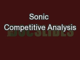 Sonic Competitive Analysis