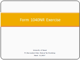 Form 1040NR Exercise University of Hawaii