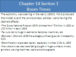 Chapter 14 Section 1 Boom Times