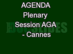 AGENDA Plenary Session AGA - Cannes