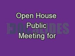 Open House Public Meeting for