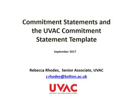 Commitment Statements and the UVAC Commitment Statement Template