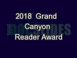 2018  Grand  Canyon Reader Award