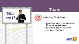 Team  Learning Objectives: