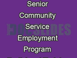 Definitions Training Senior Community Service Employment Program Participant Training