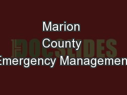 Marion County Emergency Management
