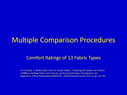 Multiple Comparison Procedures