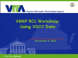 VBMP RCL Workshop: Using VDOT Data