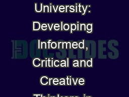 Eastern Kentucky University: Developing Informed, Critical and Creative Thinkers in Emergency Manag