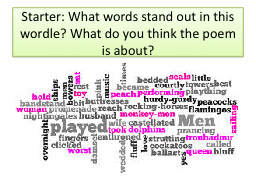 Starter: What words stand out in this wordle? What do you think the poem is about?