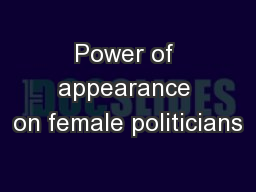 Power of appearance on female politicians