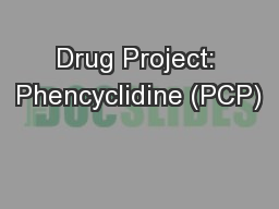 Drug Project: Phencyclidine (PCP)