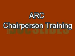 ARC Chairperson Training