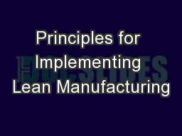 Principles for Implementing Lean Manufacturing