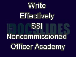 Write Effectively SSI Noncommissioned Officer Academy