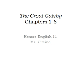 The Great Gatsby Chapters 1-6