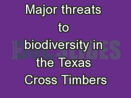 Major threats to biodiversity in the Texas Cross Timbers