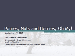 Pomes, Nuts and Berries, Oh My!