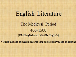 English  Literature The Medieval