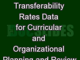 Using Course Transferability Rates Data for Curricular and Organizational Planning and Review