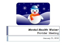 Mental Health Waiver Provider Meeting