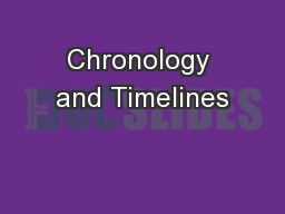 Chronology and Timelines