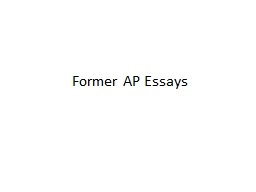 Former AP Essays Thesis: Change and Continuity AND SPECIFIC!