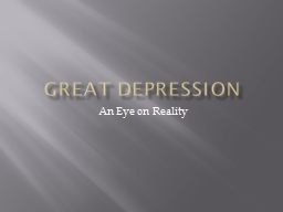 Great Depression An Eye on Reality
