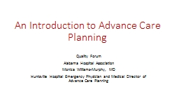 An Introduction to Advance Care Planning