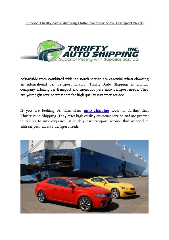 Choose Thrifty Auto Shipping Dallas for Your Auto Transport Needs