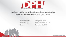 Updates to the Nutrition/Operations Monitoring Tools for Federal Fiscal Year (FFY) 2018