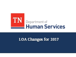 LOA Changes for 2017 Agenda