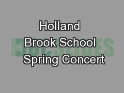 Holland Brook School  Spring Concert