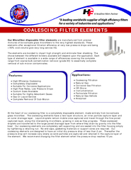 COALESCING FILTER ELEMENTS Our Microfiber disposable f PowerPoint PPT Presentation