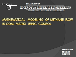 Mathematical  modeling of Methane flow in coal matrix using COMSOL