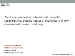 Faculty  perspectives on international students' speaking skills: