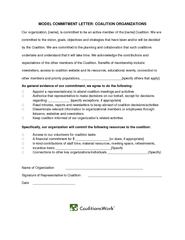 MODEL COMMITMENT LETTER COALITION ORGANIZATIONS Our or